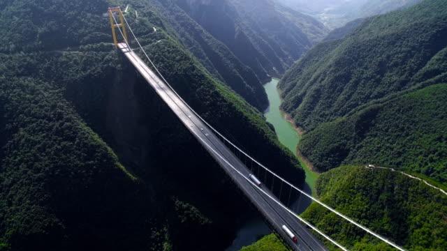 Aerial view of siduhe suspension bridge on canyon,Hubei,China.