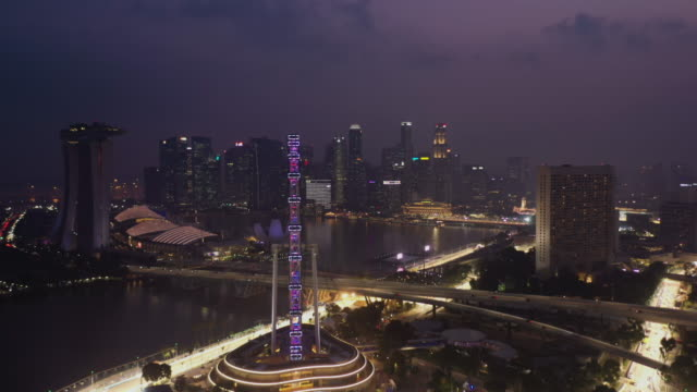 Aerial view of Singapore flyer in real time