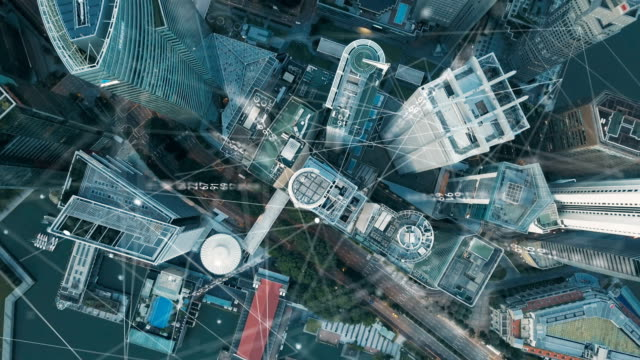 aerial view of singapore modern city and communication network, smart city. internet of things. information communication network. sensor network. smart grid. conceptual abstract. - antena filmów i materiałów b-roll