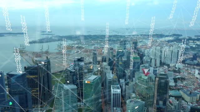 luftaufnahme von singapur moderne stadt und kommunikation-netzwerk, smart city. internet der dinge. information-kommunikation-netzwerk. sensor-netzwerk. smart grid. konzeptionelle abstrakt. - smart city stock-videos und b-roll-filmmaterial