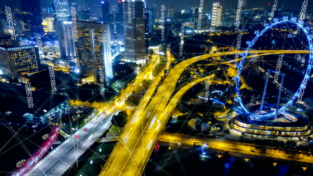 vídeos de stock e filmes b-roll de aerial view of singapore modern city and communication network, smart city. internet of things. information communication network. sensor network. smart grid. conceptual abstract. - evolução