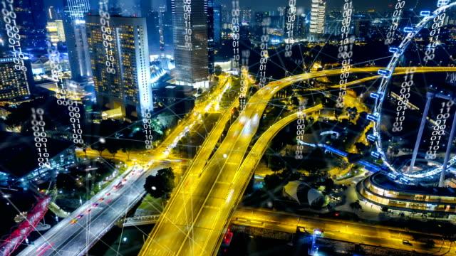 シンガポール近代都市と通信のネットワーク、スマートシティの空撮。物事のインターネット。情報通信ネットワーク。センサー ネットワーク。スマート グリッド。抽象的な概念。 - モノのインターネット点の映像素材/bロール
