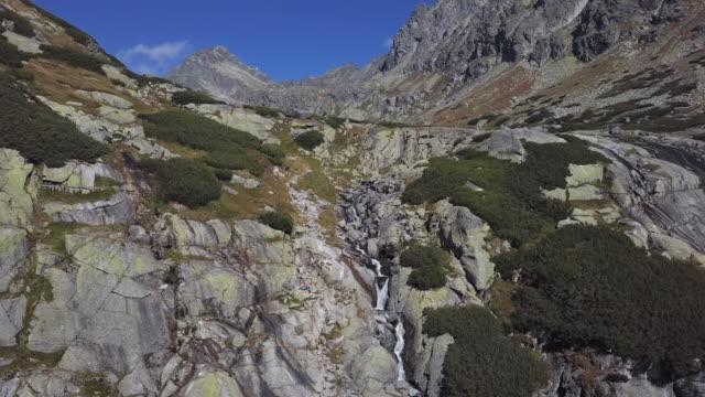 Aerial view of Skok Waterfall in High Tatras mountains, Slovakia