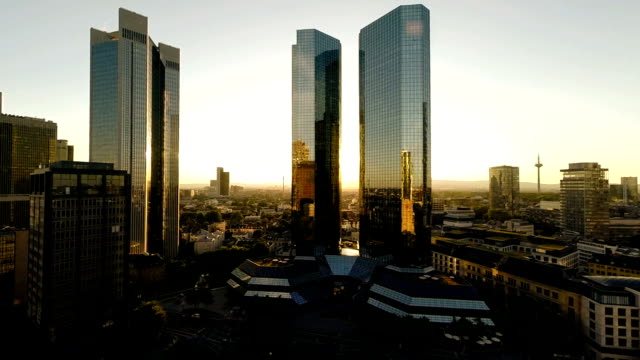 aerial view of skyline cityscape at sunset aerial view of skyline cityscape at sunset. european culture stock videos & royalty-free footage