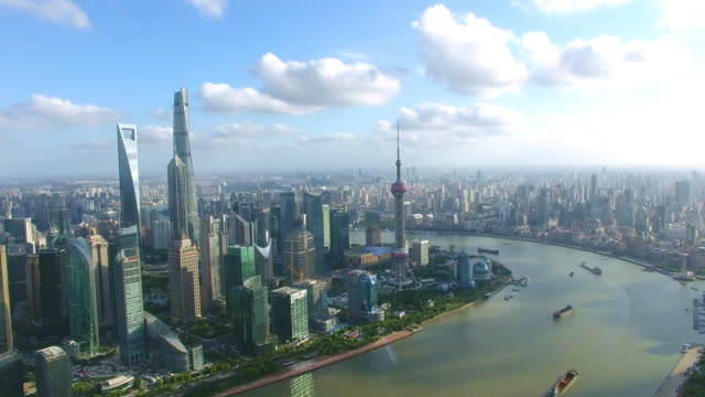 Aerial view of skyscraper in shanghai,Footage shoot by drone video