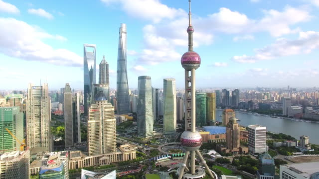 Aerial view of skyscraper in shanghai,Footage shoot by drone a good weather day in shanghai shanghai stock videos & royalty-free footage