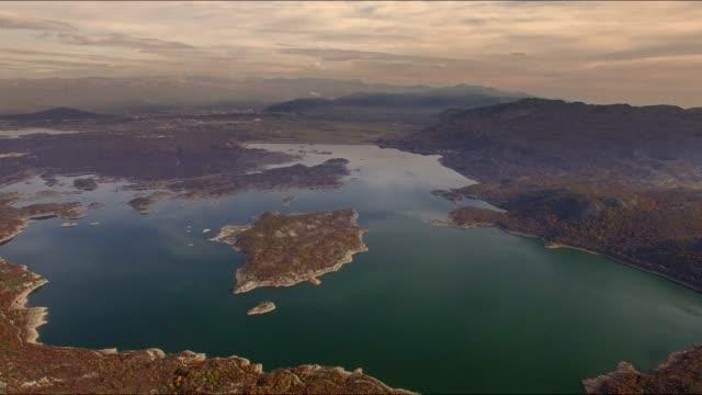 Aerial view of Slano jezero in Montenegro 4K video