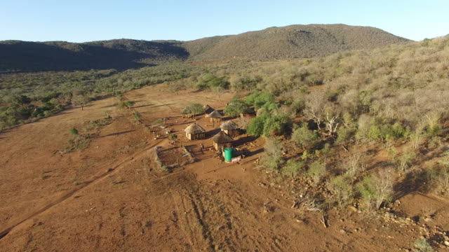 Aerial view of small African village in dry landscape