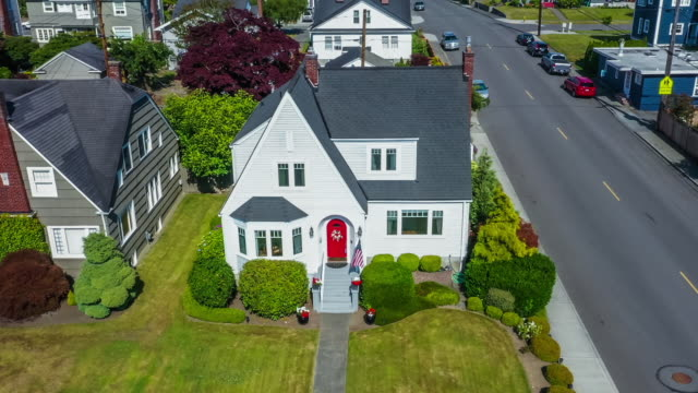 Aerial view of small house for sale