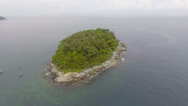 Aerial view of Small island with clear water in the sea video