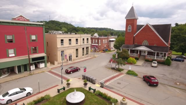 aerial view of small town of mars pennsylvania - church architecture stock videos & royalty-free footage