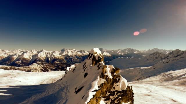 aerial view of snow mountain panorama video