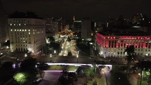 aerial view of são paulo's downtown, brazil. fantastic landscape. night scenery. light's shopping near municipal theater - são paulo video stock e b–roll