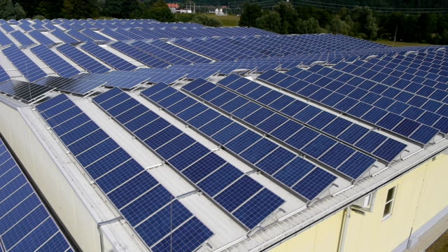Aerial view of solar panels video