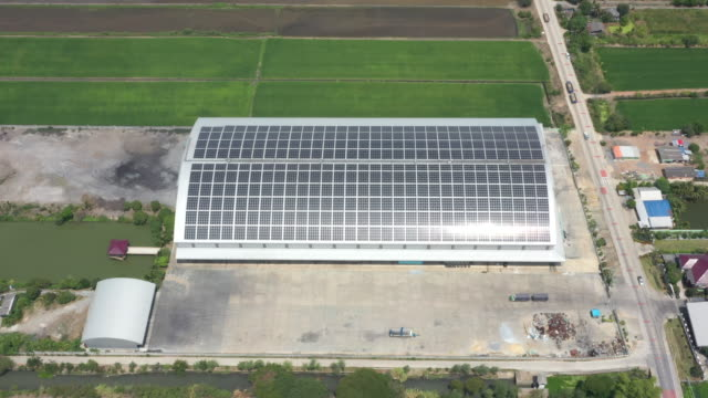 Aerial view of solar sell rooftop factory
