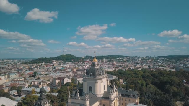 Aerial view of St. Jura St. George's Cathedral church in town Lviv, Ukraine