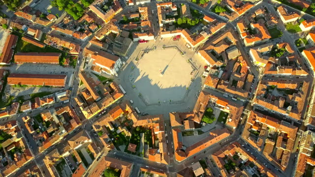 Aerial view of star-shape town of Palmanova, Italy video