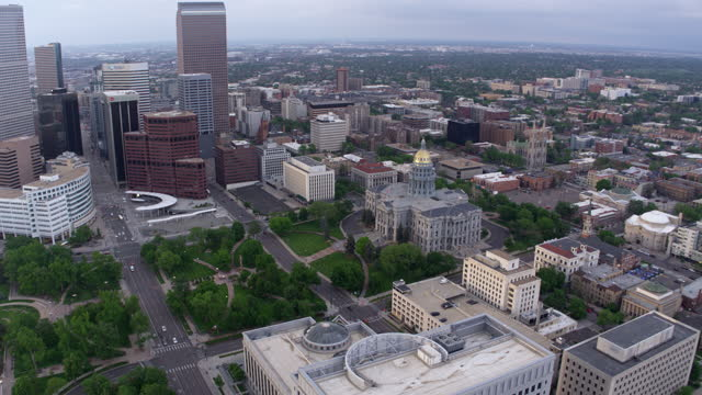 Aerial view of state capitol building in Denver, Colorado