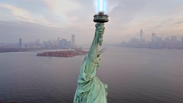 Aerial view of Statue of Liberty with Lightsaber 4k video