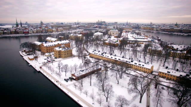Aerial view of Stockholm City Aerial view of Stockholm City in winter scandinavia stock videos & royalty-free footage