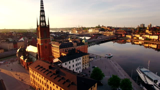 Aerial view of Stockholm City Aerial view of Stockholm City in spring stockholm stock videos & royalty-free footage