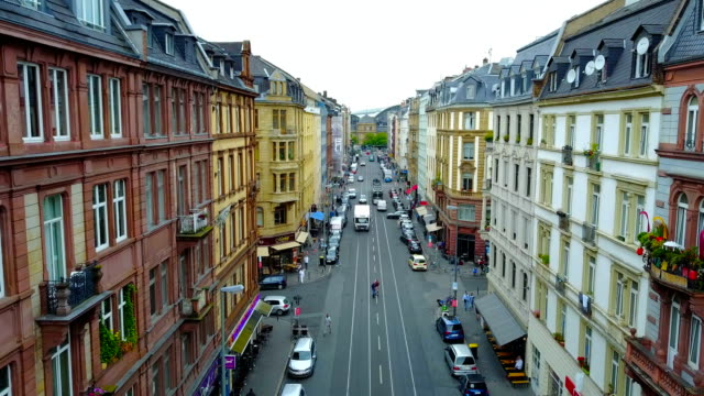 aerial view of street in Frankfurt am Main with cars and houses