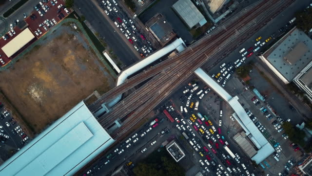 Aerial View of Street Intersection in Bangkok,Thailand video