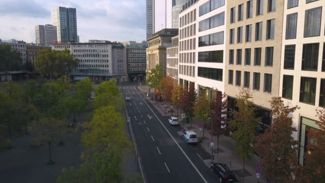 Aerial view of street of shops in a big city Tour around big cities in Germany. avenue stock videos & royalty-free footage