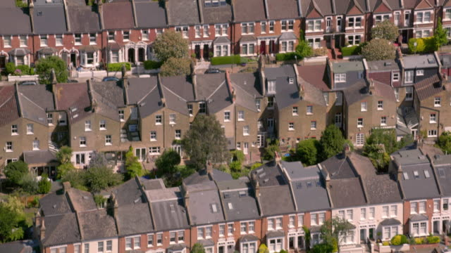 Aerial View of Suburban Victorian Houses in London, UK. 4K