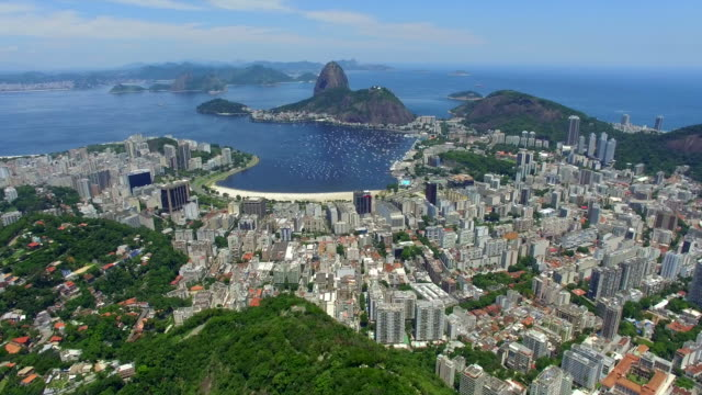 Aerial View of Sugarloaf Mountain and Rio de Janeiro Cityscape, Brazil video