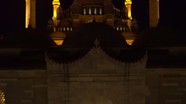 Aerial view of Suleymaniye Mosque at night in Istanbul, Turkey video