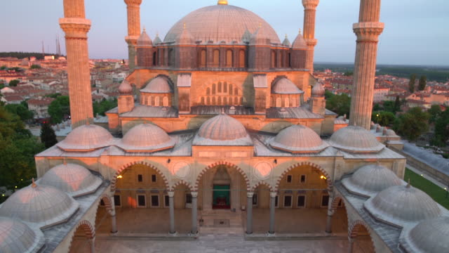 Aerial view of Suleymaniye mosque at sunset video