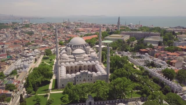 Aerial view of Suleymaniye Mosque Aerial view of Suleymaniye Mosque in Istanbul istanbul stock videos & royalty-free footage