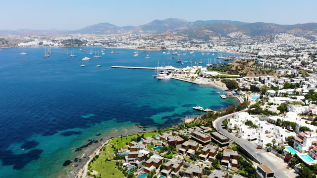 Aerial view of sunny Bodrum with resorts and beachfront villas