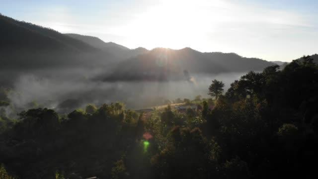 vidéos et rushes de vue aérienne du lever du soleil à la montagne - forêt tropicale humide