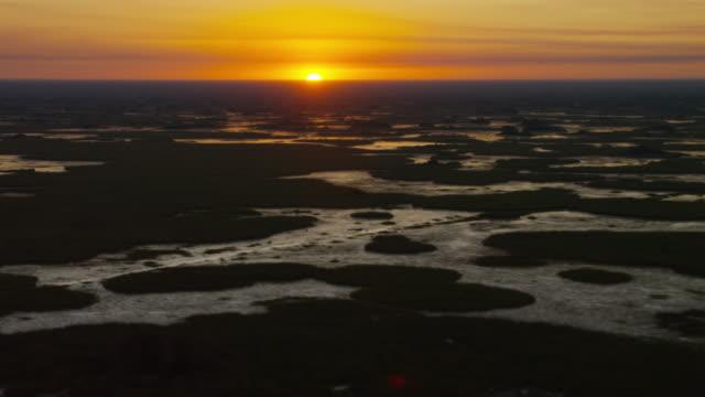 Aerial view of sunrise over Everglades