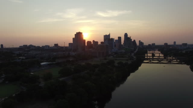 Aerial view of sunset sun setting over Austin, Texas, USA video