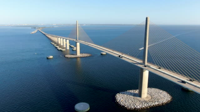 aerial view of sunshine skyway, tampa bay florida - lungo video stock e b–roll