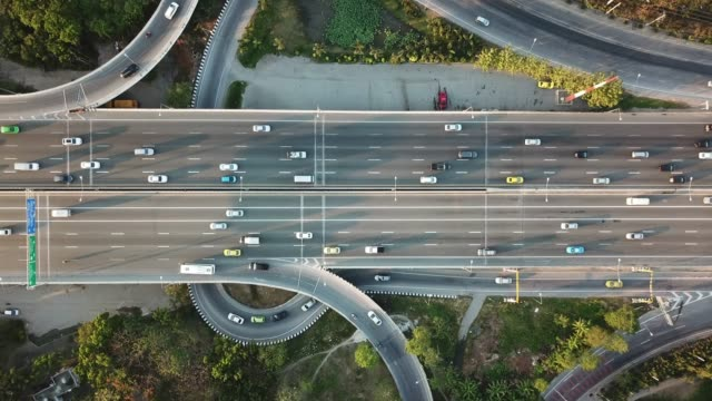 aerial view of super highway during rush hour