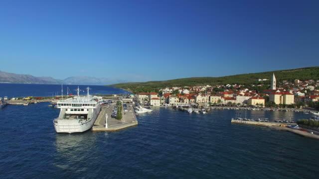 Aerial view of Supetar harbour on Island of Brac, Croatia video