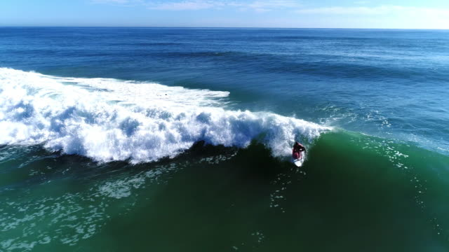 Aerial view of surfers riding the waves video