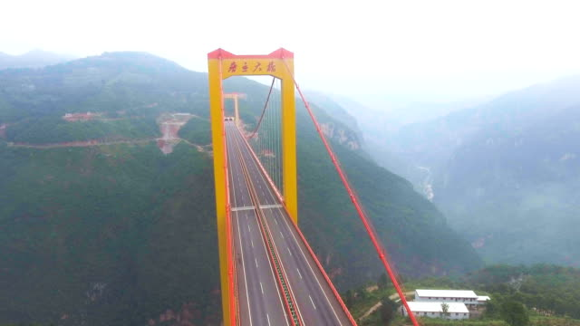 Aerial view of Suspension Bridge Connect Between the Mountain, Ghuizhou, China video