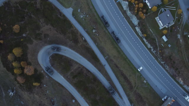 Aerial view of Switzerland army howitzer running video
