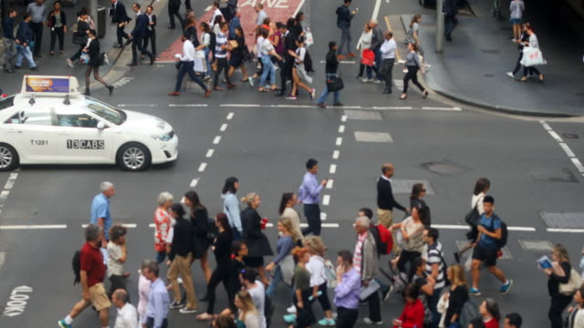 Aerial View of Sydney Crowds of Shoppers and Business Commuters video