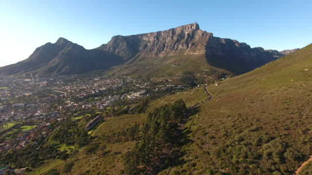 Aerial view of table mountain, cape town Table Mountain in Cape Town, South Africa cape peninsula stock videos & royalty-free footage