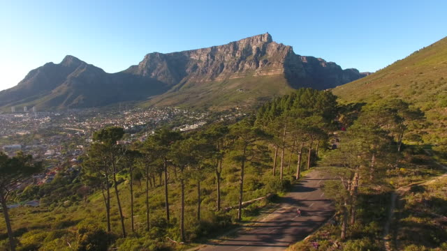 Aerial view of table mountain, cape town video