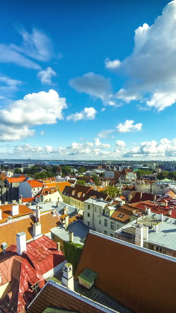 Aerial view of Tallinn Old Town (Vanalinn), Estonia Vertical aerial view of Historic Centre of Tallinn, capital of Estonia. Tallinn Old Town (Vanalinn). Time Lapse. Vertical FullHD video estonia stock videos & royalty-free footage