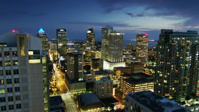 Aerial View of Tampa Bay Seen Through Office Towers at Twilight video