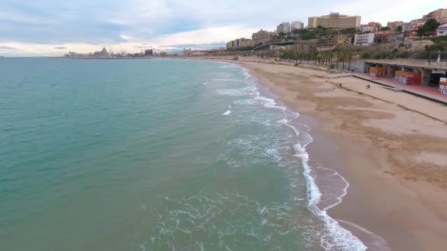 Aerial view of Tarragona beach in winter
