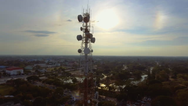 Aerial view of Telecommunication over city